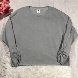 NSF Gray Ruched Sleeve Detail Oversized Pullover
